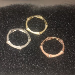 Matte Bamboo SS 3 separate rings made in Italy